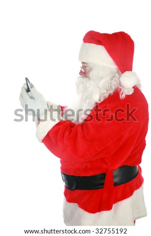 santa claus reads and sends text messages from his cell phone  isolated on white  with room for your text