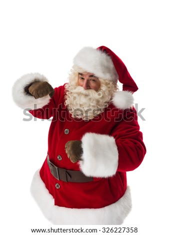 Santa Claus ready to fight. Portrait Isolated on White Background - stock photo