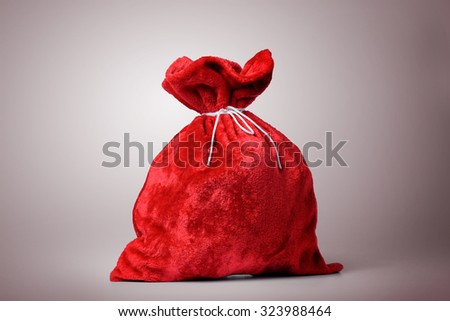 Santa Claus red bag full. File contains a path to isolation. - stock photo
