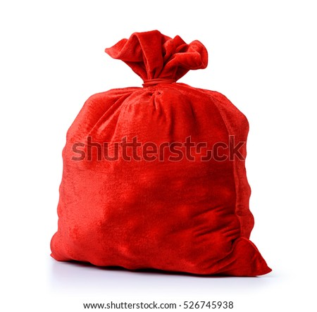 Santa Claus red bag, full, on white background. File contains clipping path