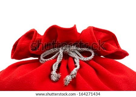Santa Claus red bag on white - stock photo