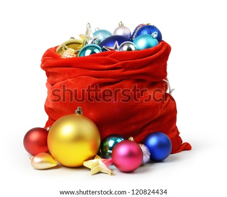 Santa Claus red bag with Christmas toys on white background. - stock photo