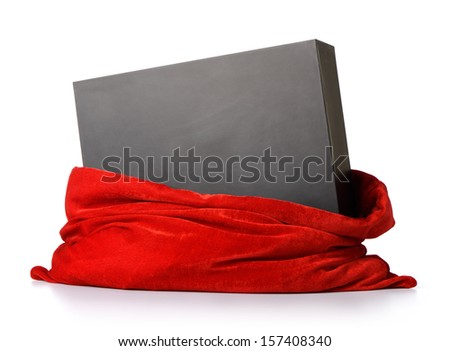 Santa Claus red bag with gift black box on white background. File contains a path to isolation.  - stock photo