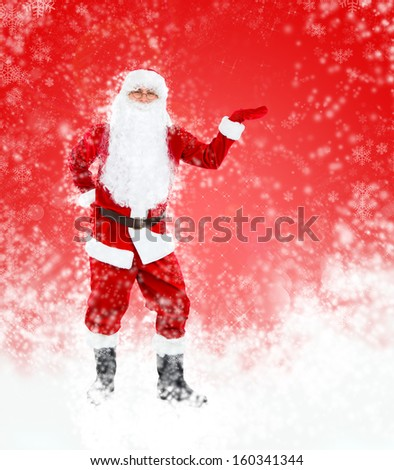 Santa Claus red christmas background, hold point open palm glove empty copy space, concept new year sale shopping abstract winter snow - stock photo