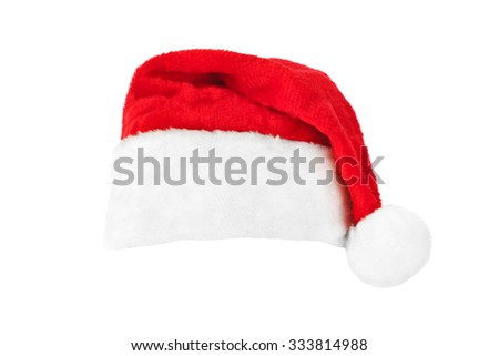 Santa Claus red christmas hat isolated on white background - stock photo