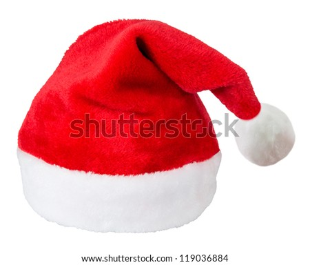 Santa Claus red hat isolated on white background - stock photo