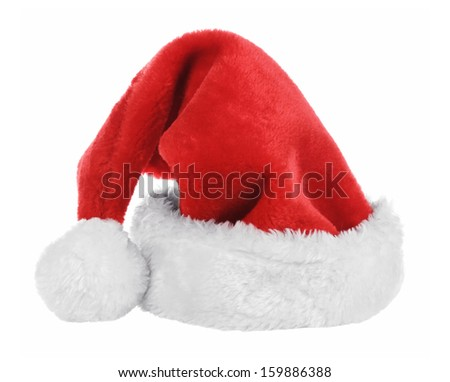 Santa Claus  red hat isolated on white. New year 2014. - stock photo