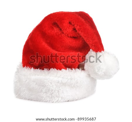 Santa claus red hat on white