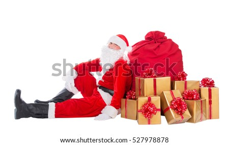 Santa Claus relax sitting near big red Christmas sack full of golden  presents, gifts and surprises isolated on white background, New Year or xmas holiday concept