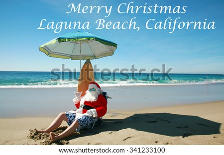 Santa Claus Relaxes on a Beautiful and Exotic Beach while on Vacation. Focus on Santa's Face.  - stock photo