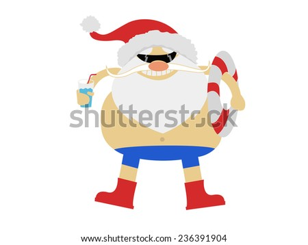Santa Claus resting on vacation at sea  - stock photo