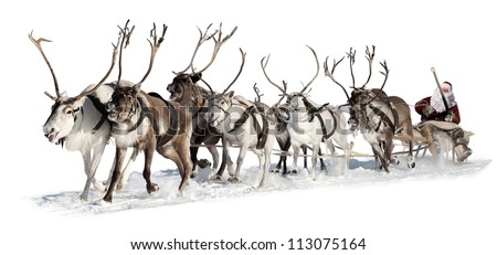 Santa Claus rides in a reindeer sleigh. He hastens to give gifts before Christmas. This is fast team of eight deer. - stock photo