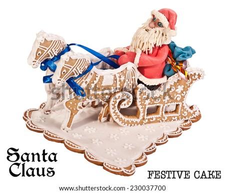 Santa Claus rides on horseback.Festive cake.Merry Christmas.Happy New Year! Postage stamps.Image on white background. - stock photo