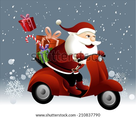 Santa Claus riding a scooter - stock photo