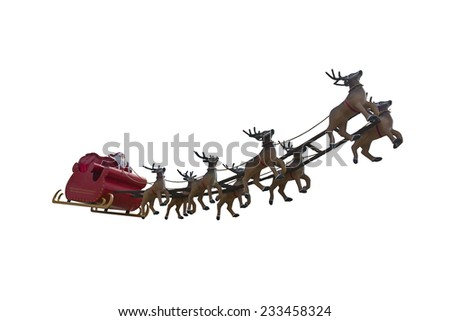 Santa Claus riding a sleigh led by reindeers isolated on white background - stock photo