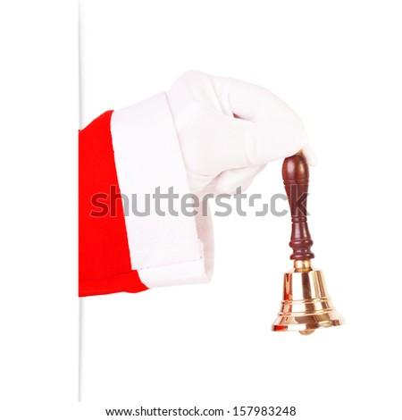 Santa Claus ringing a gold bell - stock photo