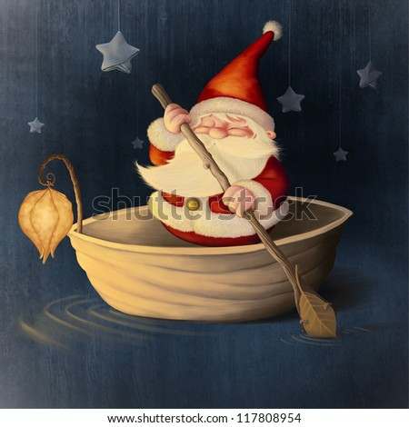 Santa Claus rows in a walnut shell - stock photo