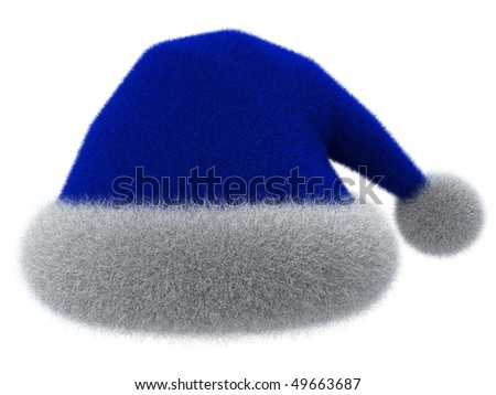 Santa Claus's blue hat isolated on white. 3d rendered