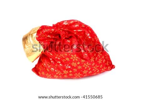 santa claus sack isolated on the white - stock photo