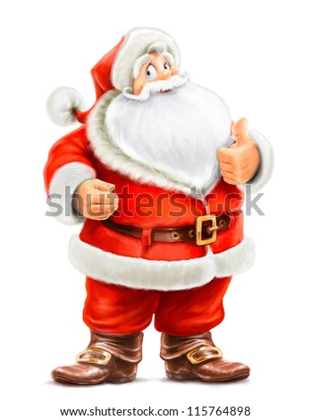 Santa Claus show ok isolated on white background - stock photo