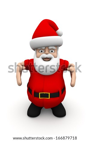 Santa Claus show ok isolated on white background