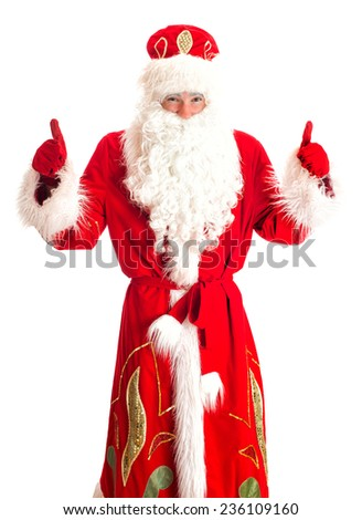 Santa Claus showing OK. Isolated on white.