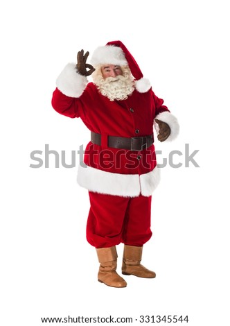 Santa Claus showing okay gesture Full Length Portrait. Isolated on White Background