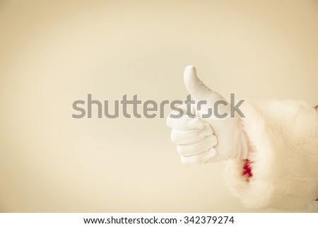 Santa Claus showing thumbs up. Christmas holiday concept - stock photo