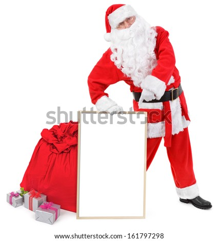 Santa claus shows blank white board over white background - stock photo
