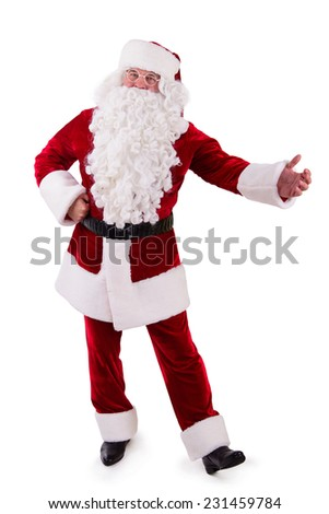 Santa Claus shows gesture. Isolated on white background - stock photo