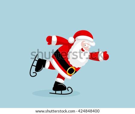 Santa Claus skating - stock photo