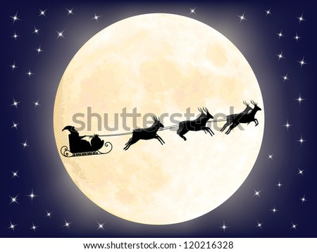 Santa Claus sledge in front of full moon