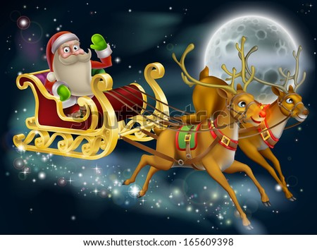 Santa Claus sleigh scene of Santa in his sleigh being pulled through the sky with his reindeer  - stock photo