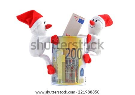 Santa Claus - snowman and euro money,  horizontal - stock photo