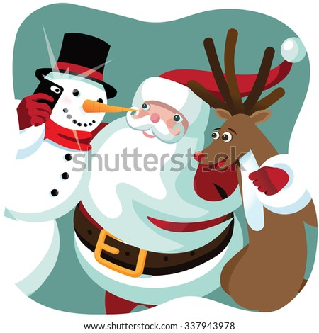 Santa Claus, snowman and Reindeer take a Christmas selfie together. - stock photo