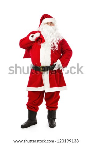 Santa Claus standing isolated on white background - stock photo