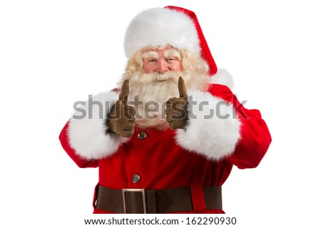 Santa Claus standing isolated on white background and thumbs up - stock photo