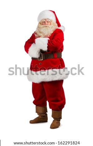 Santa Claus standing isolated on white background - full length portrait - stock photo