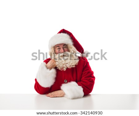 Santa Claus thinking Closeup Portrait Isolated on White Background