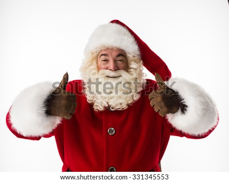 Santa Claus thumbs up Closeup Portrait. Isolated on White Background