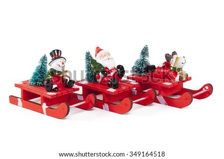 Santa Claus toys isolated on white background - stock photo