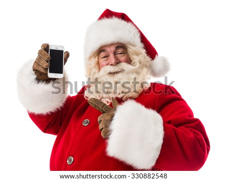 Santa Claus using smartphone - calling phone or texting a message Closeup Portrait - stock photo