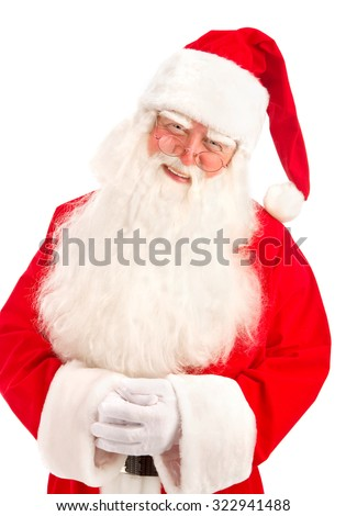 Santa Claus Very Kind, has a Great Beautiful Beard  on the White Background