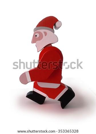 SANTA CLAUS WALKING (PROFILE) - stock photo