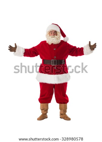 Santa Claus welcoming with open hands Full-Length Portrait - stock photo