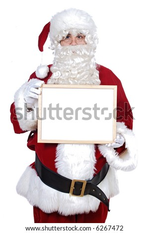 Santa Claus whit billboard a over white background - you can write your text -