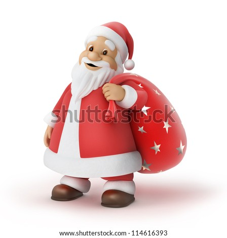 Santa Claus with a bag of gifts, 3d illustration,  work path included
