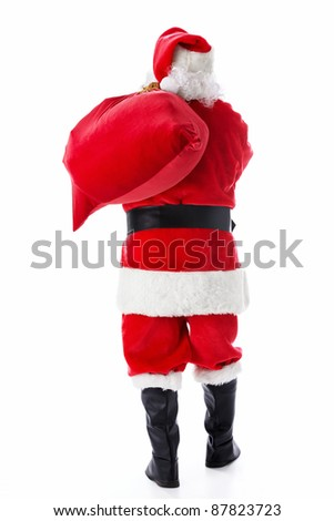 Santa Claus with a bag of isolated - stock photo