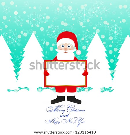 Santa Claus with a banner in his hands - stock photo