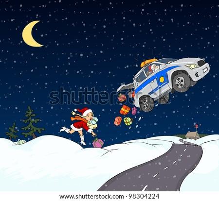Santa Claus with a car driven by air - stock photo